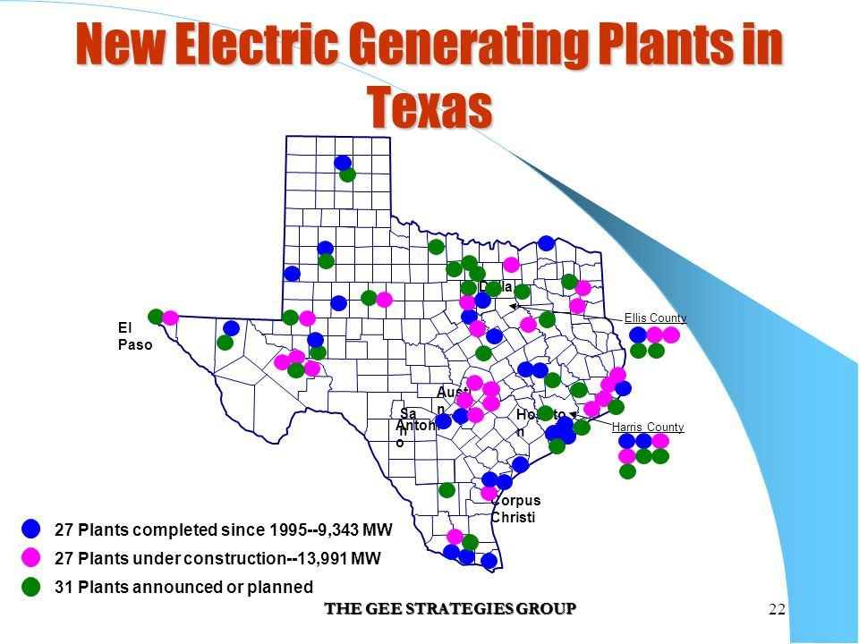 THE GEE STRATEGIES GROUP22 New Electric Generating Plants in Texas Austi n Sa n Antoni o Housto n El Paso Corpus Christi Dalla s Harris County Ellis C
