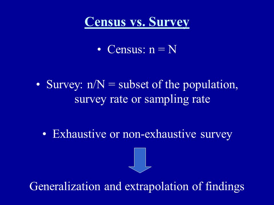 Census vs. Survey Census: n = N Survey: n/N = subset of the population, survey rate or sampling rate Exhaustive or non-exhaustive survey Generalizatio