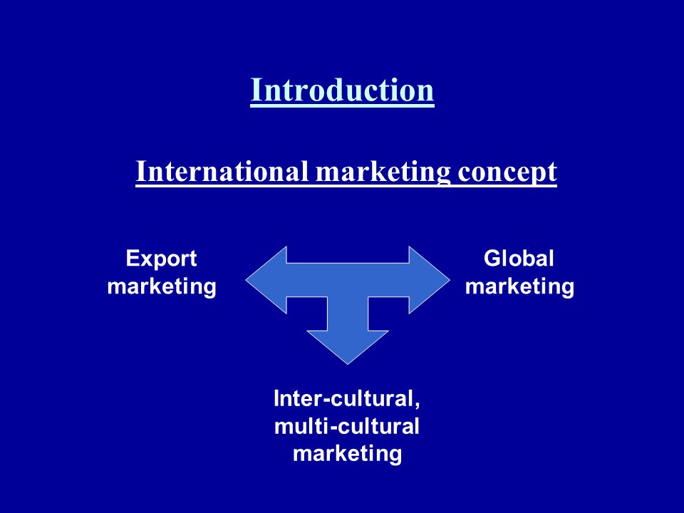 Introduction International marketing concept Export marketing Global marketing Inter-cultural, multi-cultural marketing