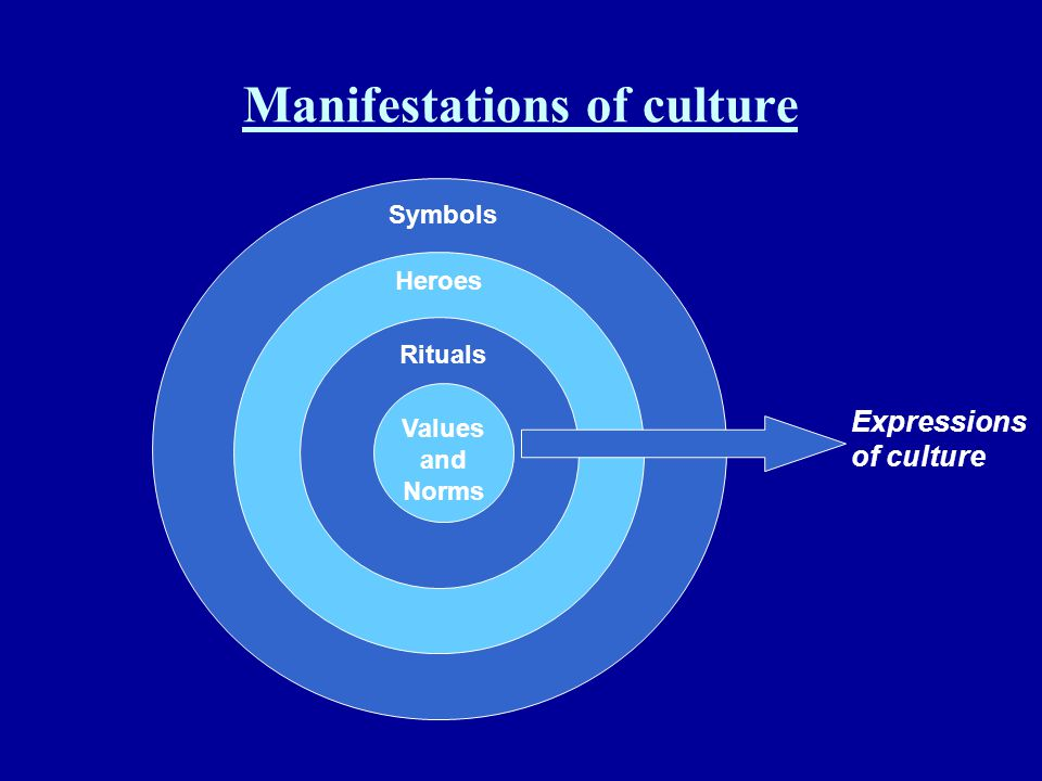 Manifestations of culture Symbols Heroes Rituals Values and Norms Expressions of culture