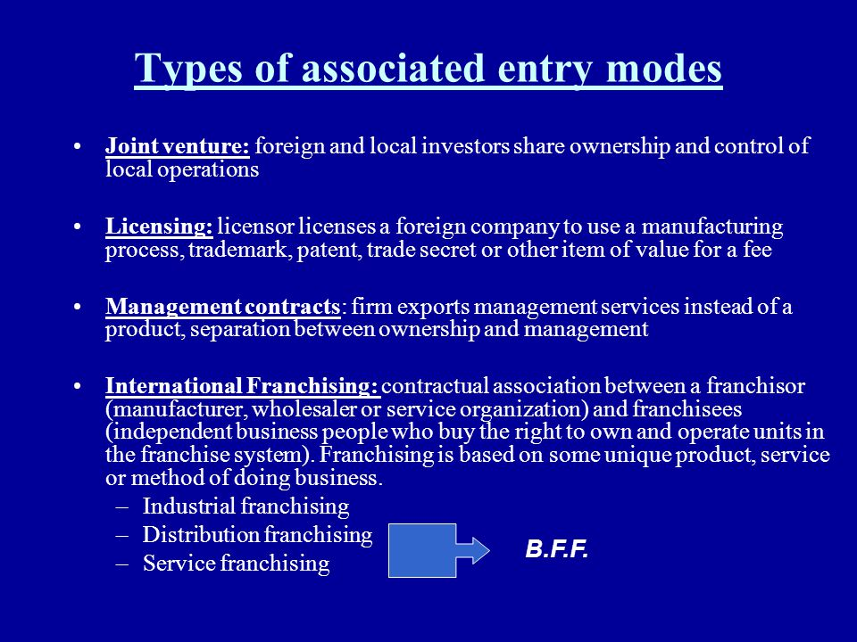 Types of associated entry modes Joint venture: foreign and local investors share ownership and control of local operations Licensing: licensor license