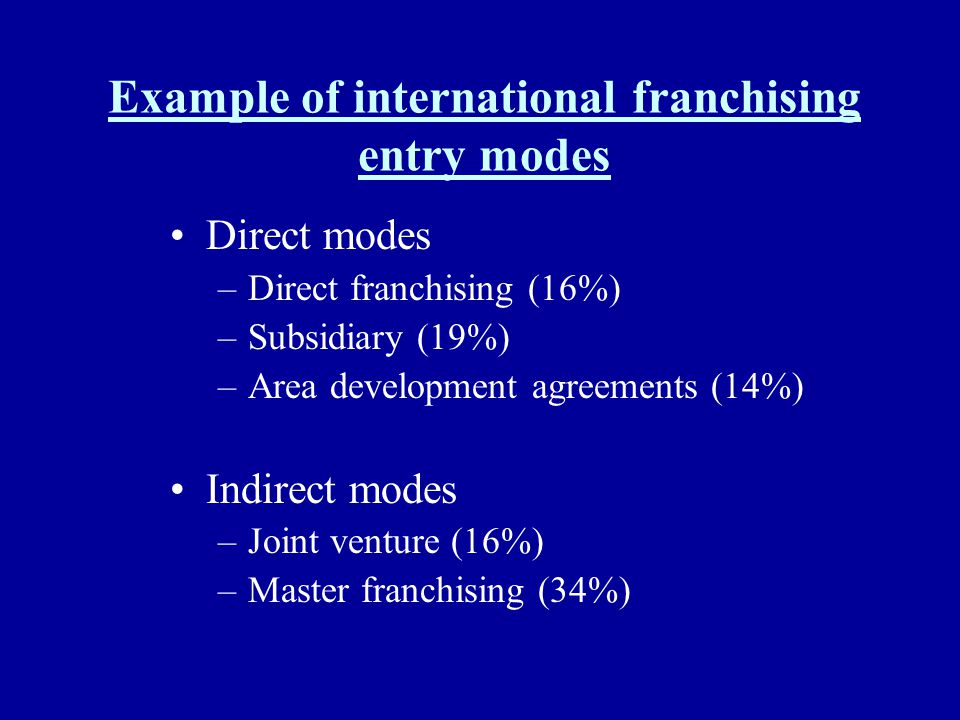 Example of international franchising entry modes Direct modes –Direct franchising (16%) –Subsidiary (19%) –Area development agreements (14%) Indirect