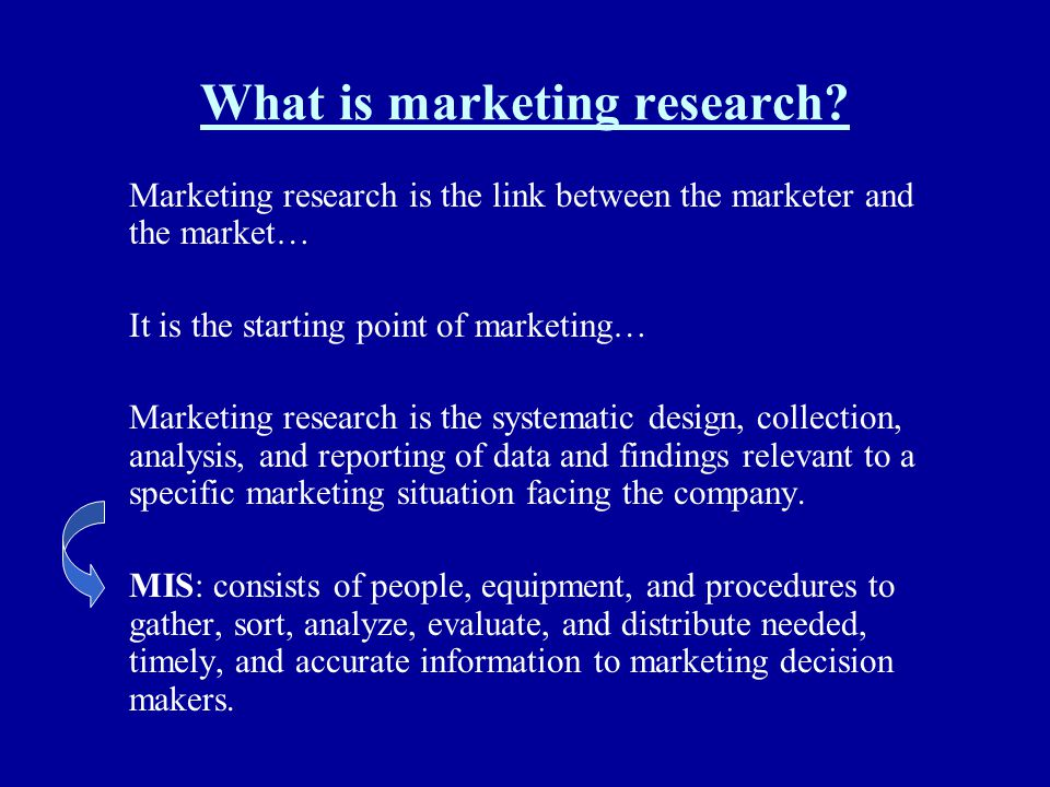 What is marketing research? Marketing research is the link between the marketer and the market… It is the starting point of marketing… Marketing resea