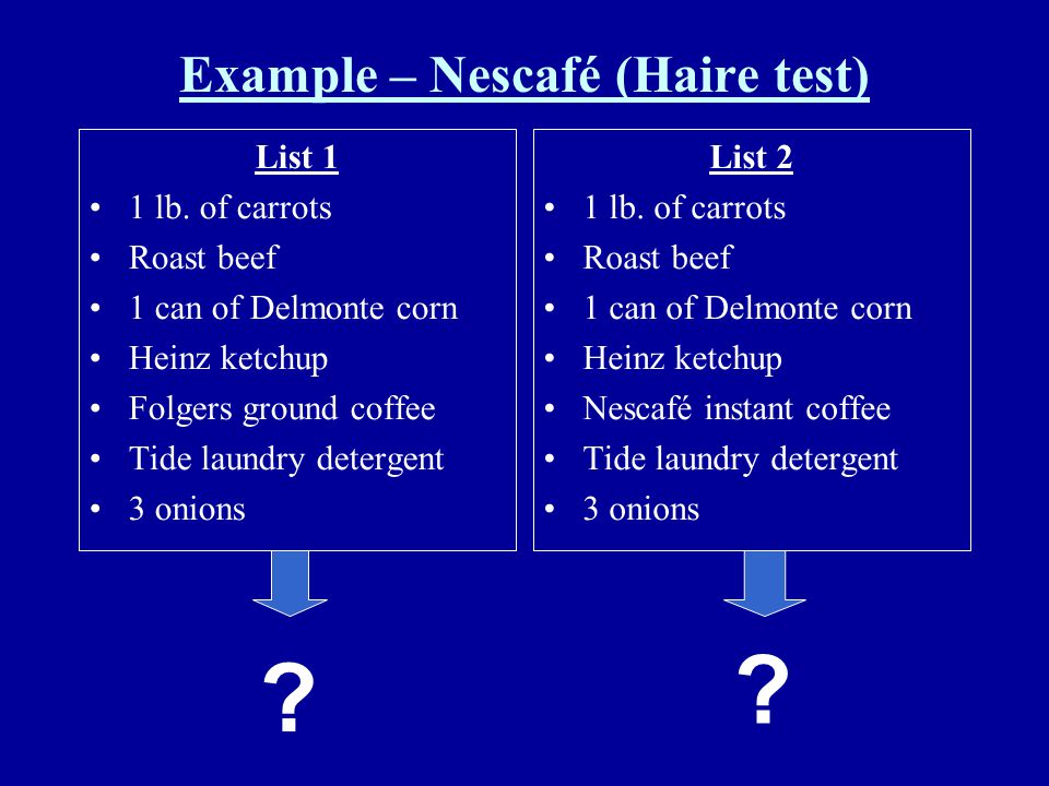 Example – Nescafé (Haire test) List 1 1 lb. of carrots Roast beef 1 can of Delmonte corn Heinz ketchup Folgers ground coffee Tide laundry detergent 3