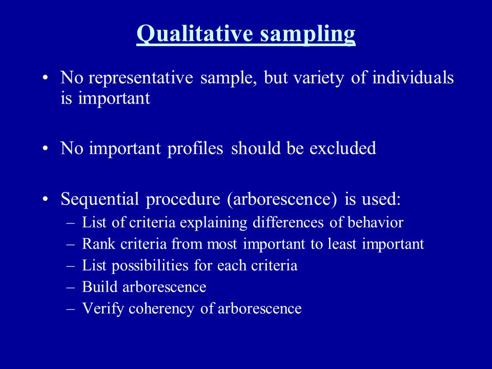 Qualitative sampling No representative sample, but variety of individuals is important No important profiles should be excluded Sequential procedure (