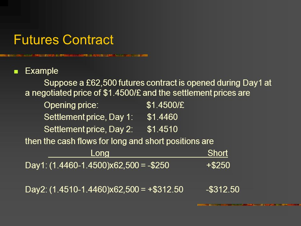 Futures Contract A bet on the direction of price (exchange rate) movement of the underlying currency.