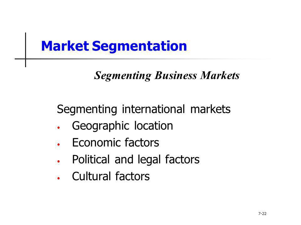 Market Segmentation Segmenting Business Markets Segmenting international markets Geographic location Economic factors Political and legal factors Cult