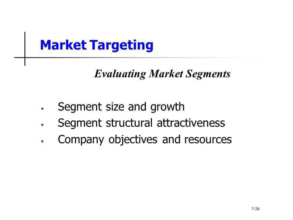 Market Targeting Evaluating Market Segments Segment size and growth Segment structural attractiveness Company objectives and resources 7-28