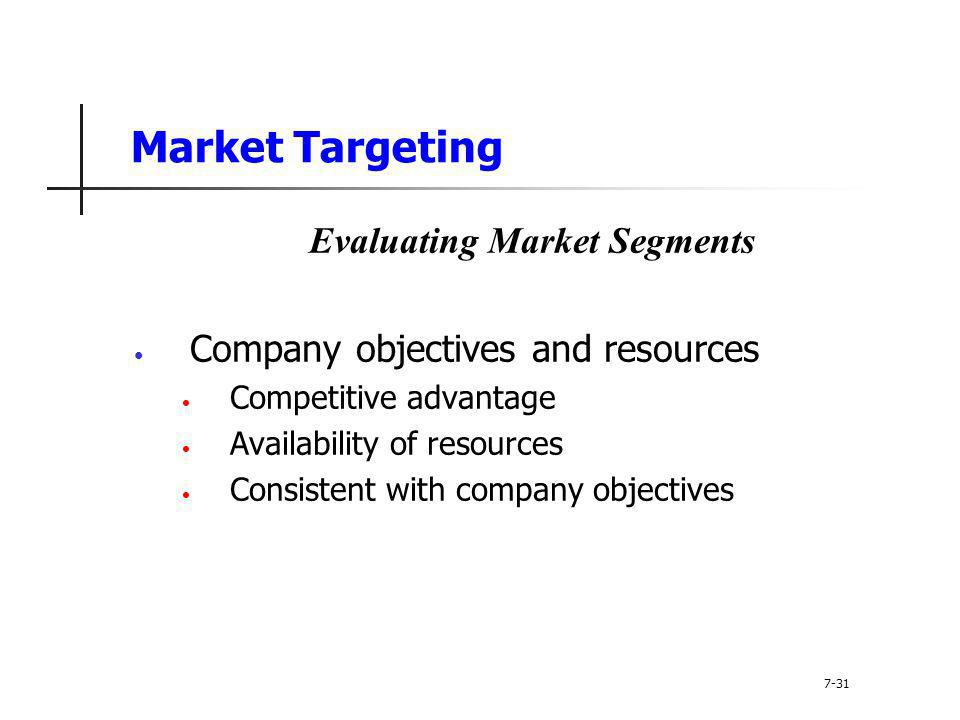 Market Targeting Evaluating Market Segments Company objectives and resources Competitive advantage Availability of resources Consistent with company o
