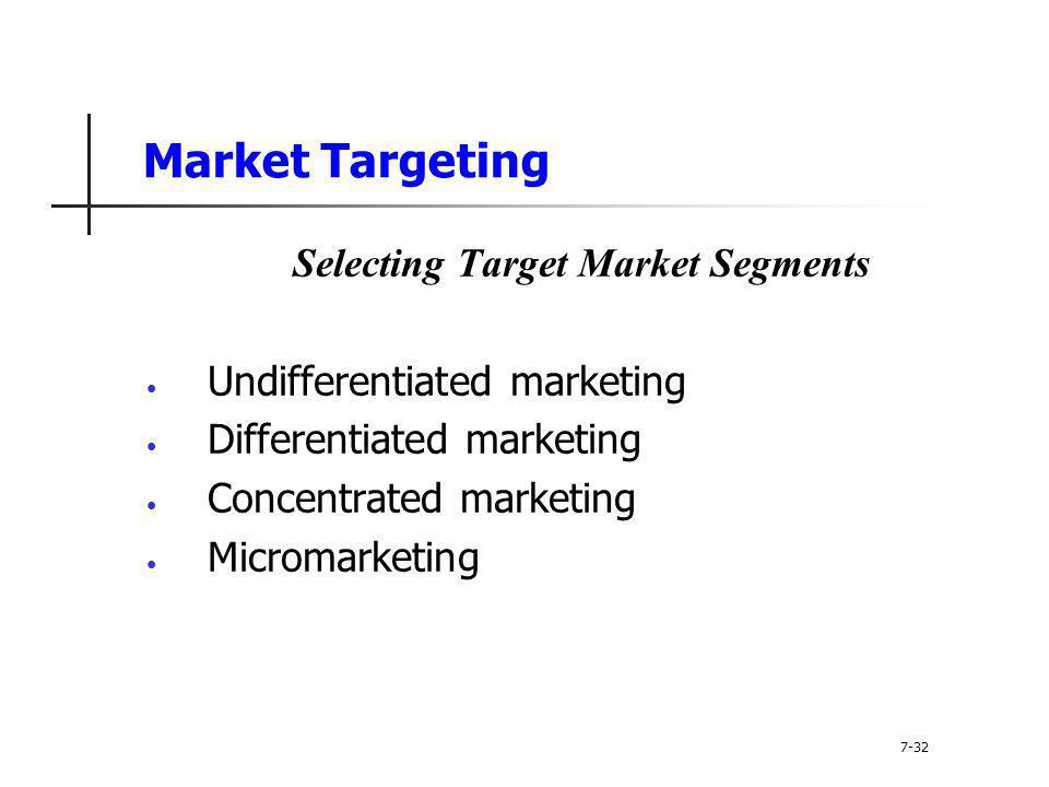 Market Targeting Selecting Target Market Segments Undifferentiated marketing Differentiated marketing Concentrated marketing Micromarketing 7-32