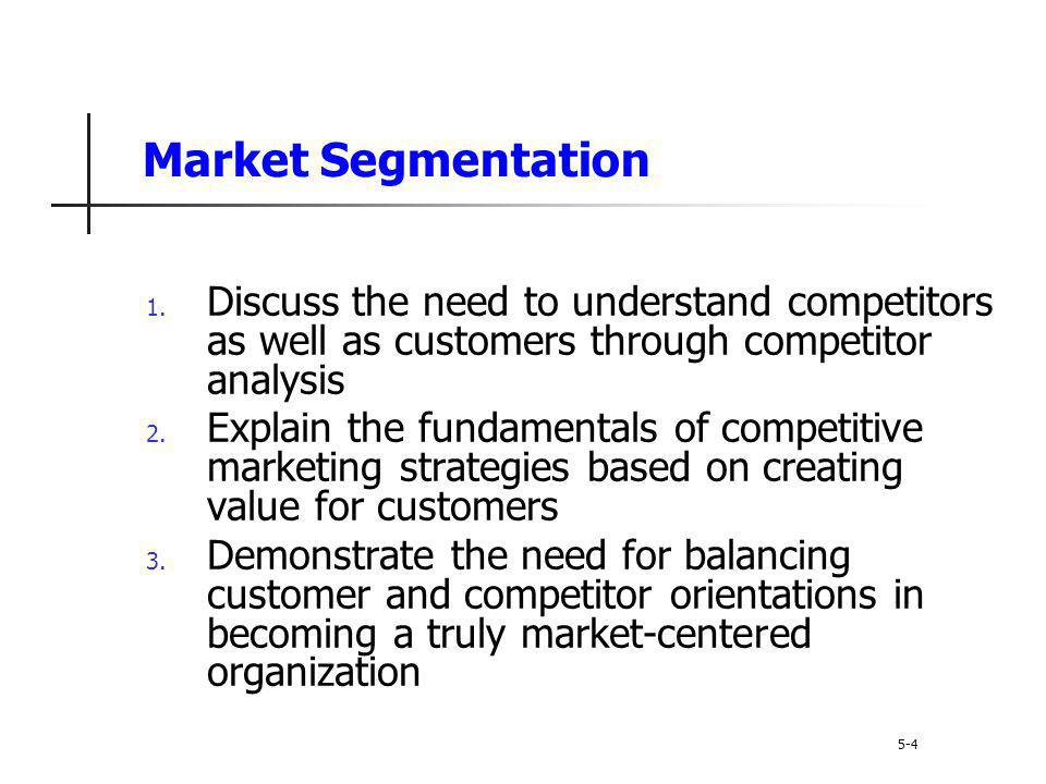 Market Segmentation 1. Discuss the need to understand competitors as well as customers through competitor analysis 2. Explain the fundamentals of comp