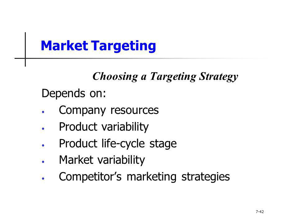 Market Targeting Choosing a Targeting Strategy Depends on: Company resources Product variability Product life-cycle stage Market variability Competito