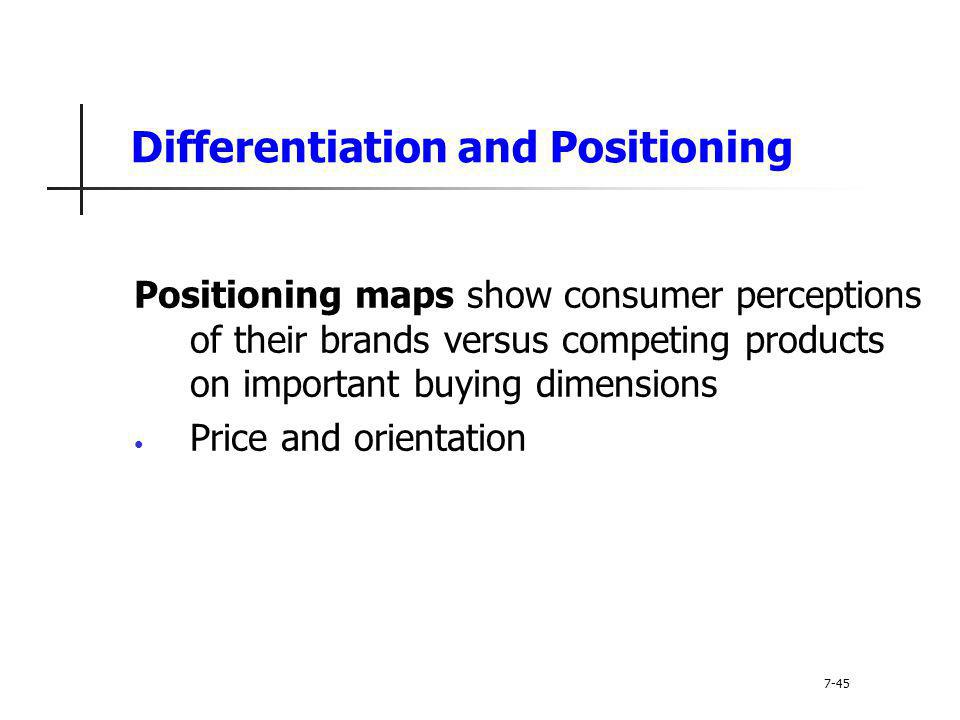 Differentiation and Positioning Positioning maps show consumer perceptions of their brands versus competing products on important buying dimensions Pr