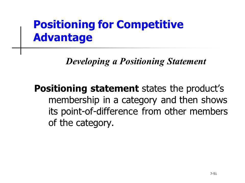Positioning for Competitive Advantage Developing a Positioning Statement Positioning statement states the products membership in a category and then s