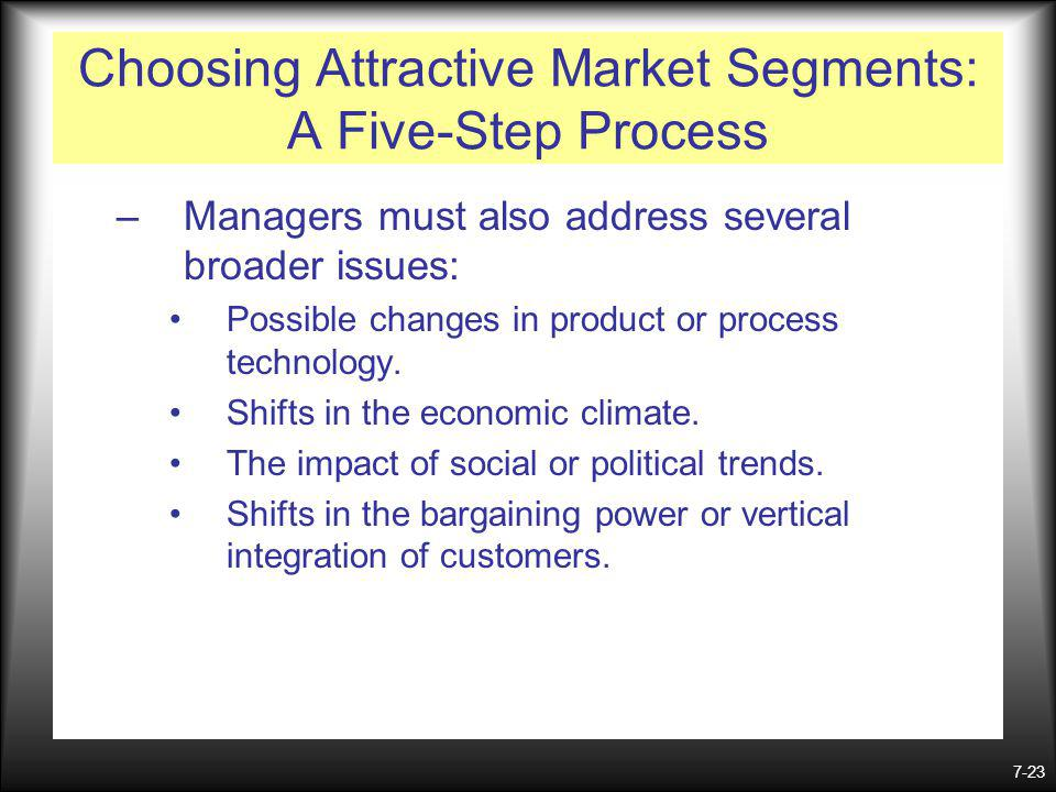 7-23 Choosing Attractive Market Segments: A Five-Step Process –Managers must also address several broader issues: Possible changes in product or process technology.