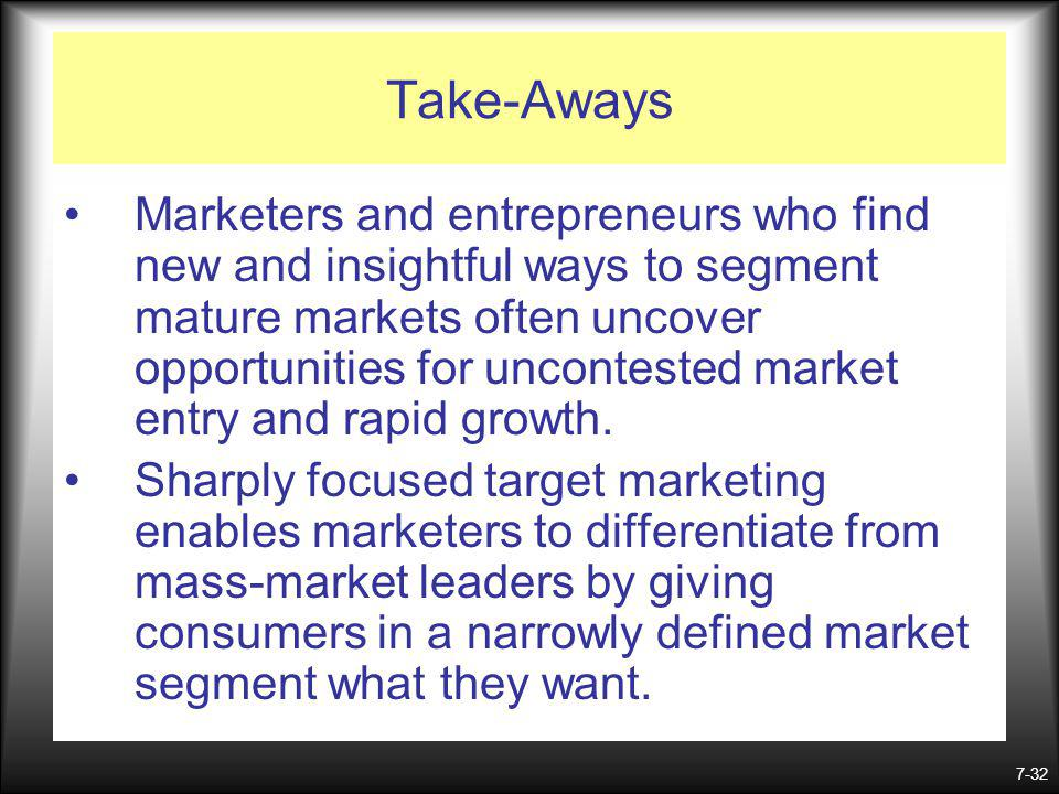 7-32 Take-Aways Marketers and entrepreneurs who find new and insightful ways to segment mature markets often uncover opportunities for uncontested market entry and rapid growth.