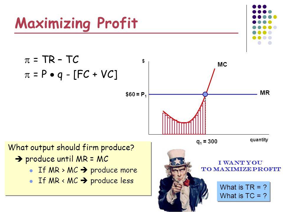 Maximizing Profit = TR – TC = P q - [FC + VC] What output should firm produce.