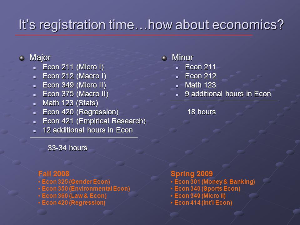 Its registration time…how about economics.