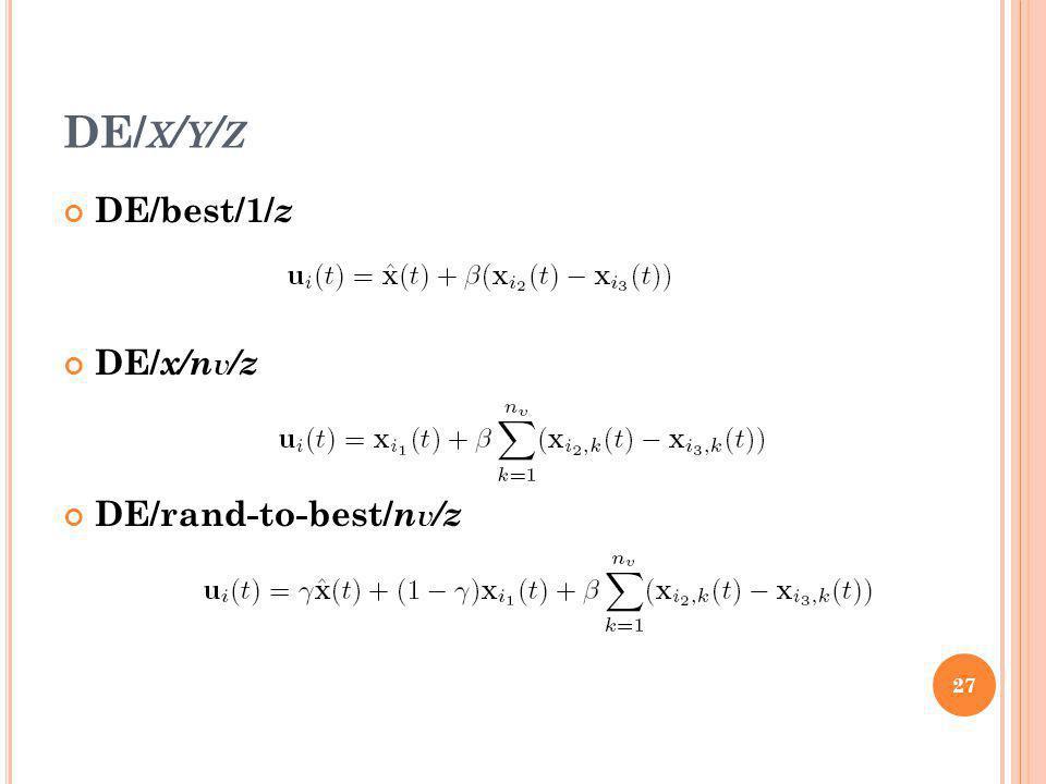 DE/ X / Y / Z DE/best/1/ z DE/ x/n v /z DE/rand-to-best/ n v /z 27