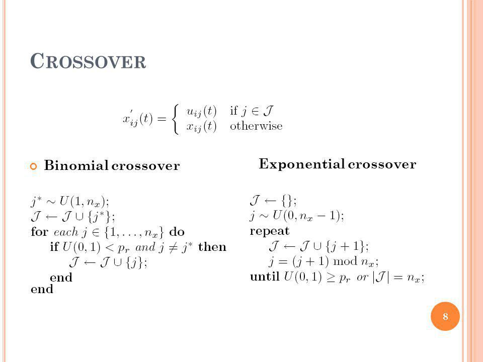 C ROSSOVER Binomial crossover Exponential crossover 8