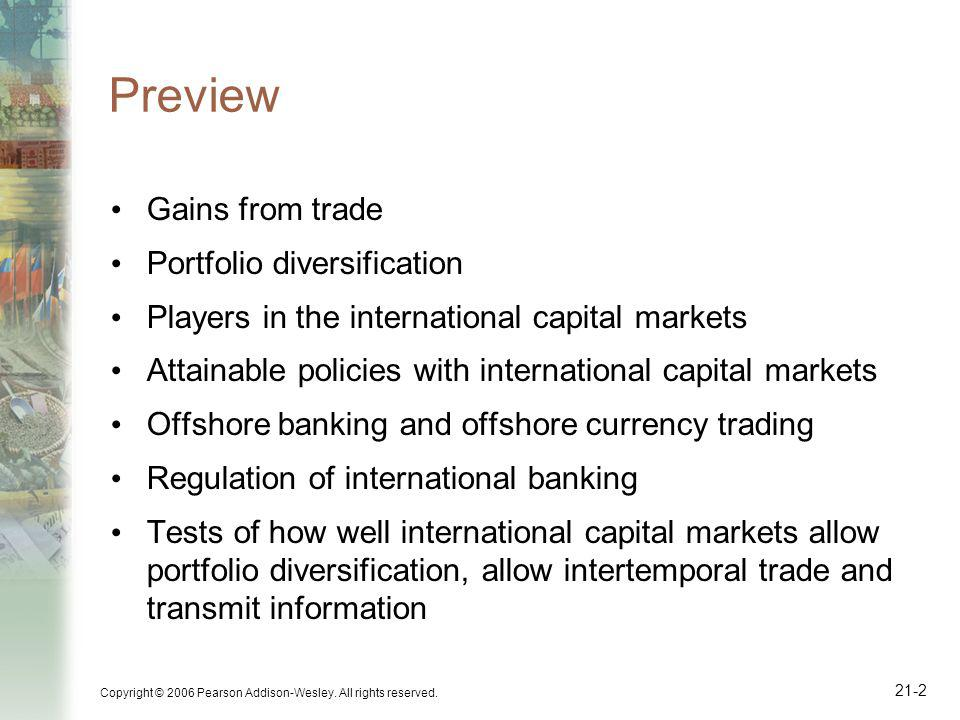 Copyright © 2006 Pearson Addison-Wesley. All rights reserved. 21-2 Preview Gains from trade Portfolio diversification Players in the international cap