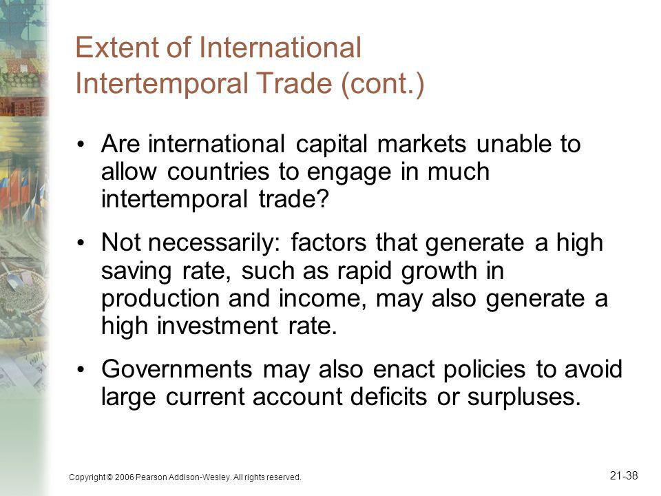 Copyright © 2006 Pearson Addison-Wesley. All rights reserved. 21-38 Extent of International Intertemporal Trade (cont.) Are international capital mark
