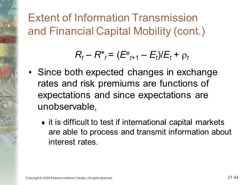 Copyright © 2006 Pearson Addison-Wesley. All rights reserved. 21-44 Extent of Information Transmission and Financial Capital Mobility (cont.) R t – R*