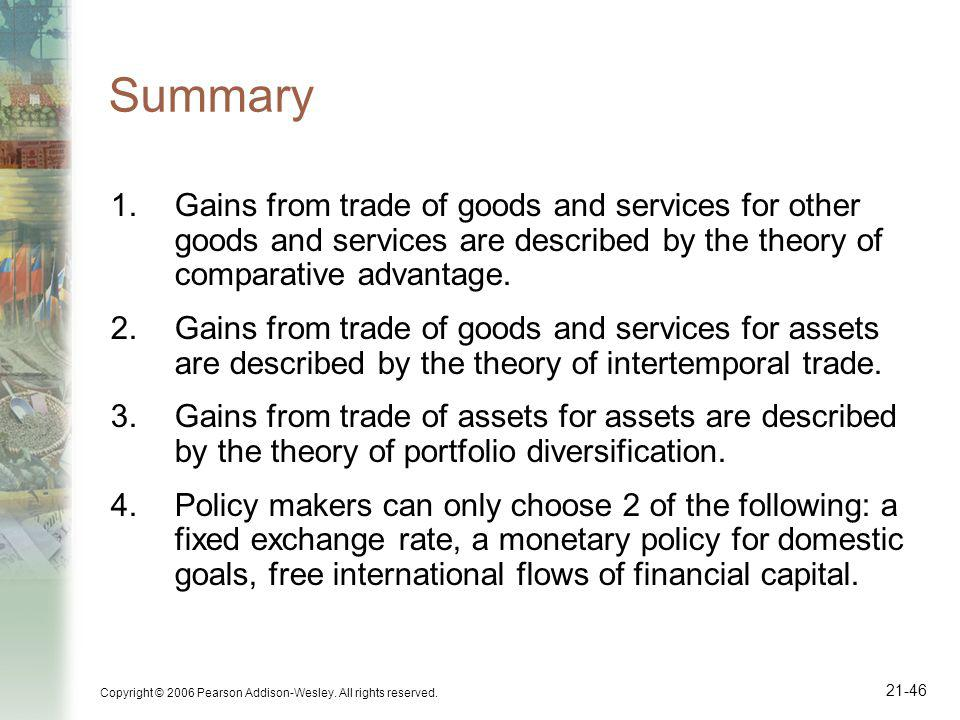 Copyright © 2006 Pearson Addison-Wesley. All rights reserved. 21-46 Summary 1.Gains from trade of goods and services for other goods and services are