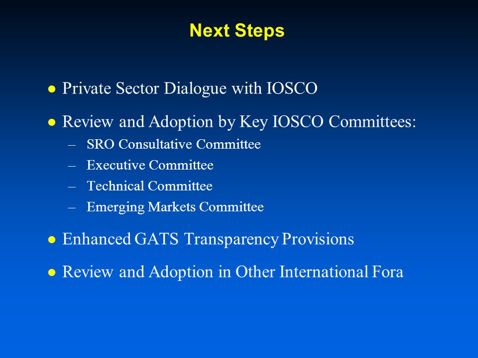 Next Steps Private Sector Dialogue with IOSCO Review and Adoption by Key IOSCO Committees: –SRO Consultative Committee –Executive Committee –Technical