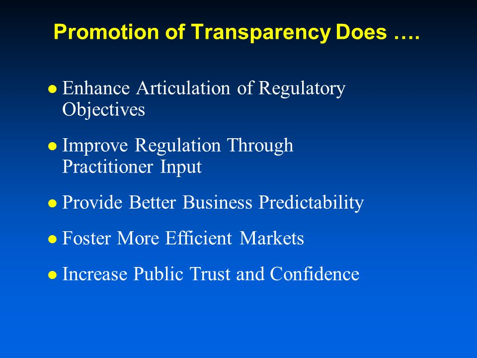Promotion of Transparency Does ….