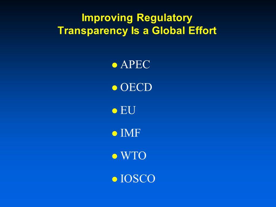 Improving Regulatory Transparency Is a Global Effort APEC OECD EU IMF WTO IOSCO