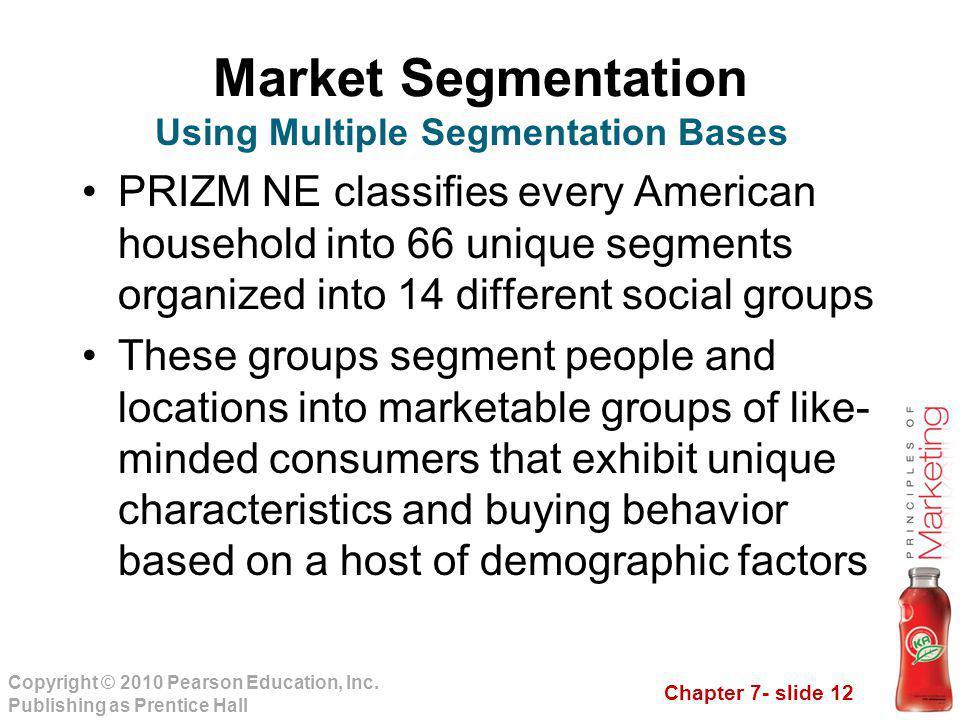 Chapter 7- slide 12 Copyright © 2010 Pearson Education, Inc. Publishing as Prentice Hall Market Segmentation PRIZM NE classifies every American househ