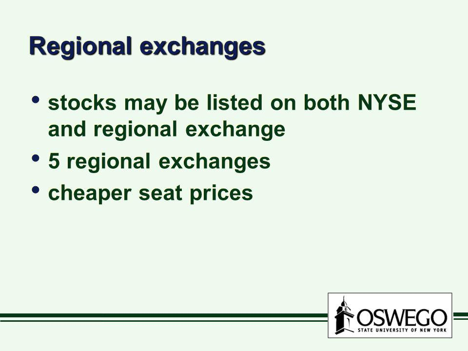 Regional exchanges stocks may be listed on both NYSE and regional exchange 5 regional exchanges cheaper seat prices stocks may be listed on both NYSE