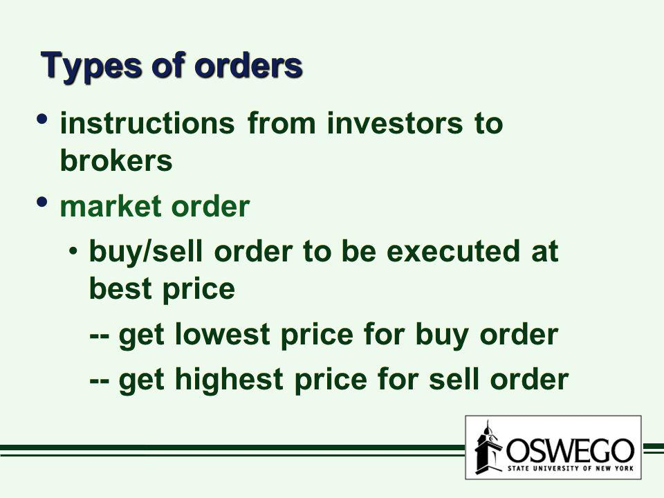 Types of orders instructions from investors to brokers market order buy/sell order to be executed at best price -- get lowest price for buy order -- g