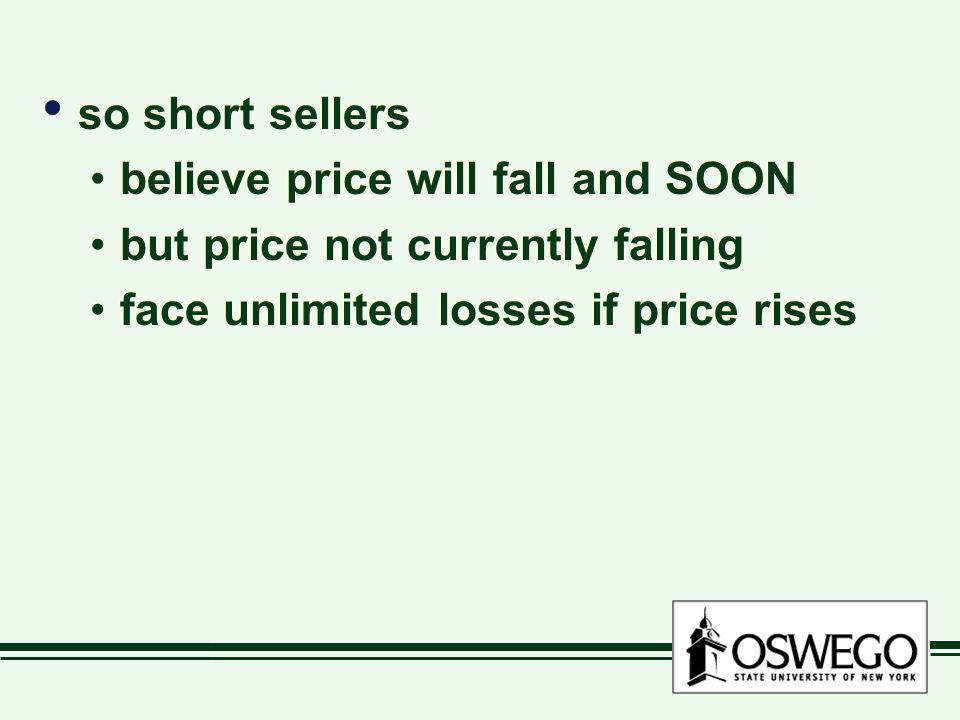 so short sellers believe price will fall and SOON but price not currently falling face unlimited losses if price rises so short sellers believe price