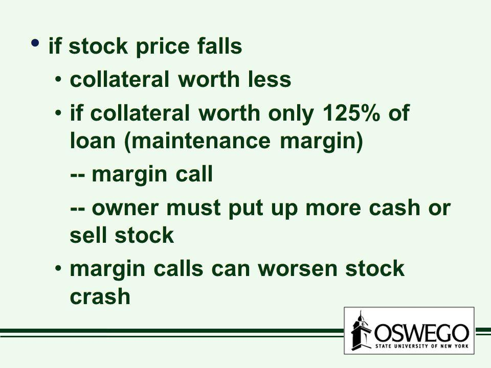 if stock price falls collateral worth less if collateral worth only 125% of loan (maintenance margin) -- margin call -- owner must put up more cash or