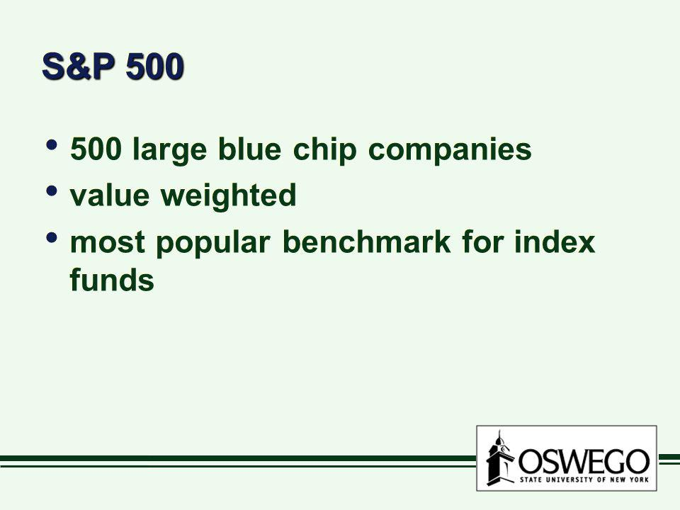 S&P 500 500 large blue chip companies value weighted most popular benchmark for index funds 500 large blue chip companies value weighted most popular