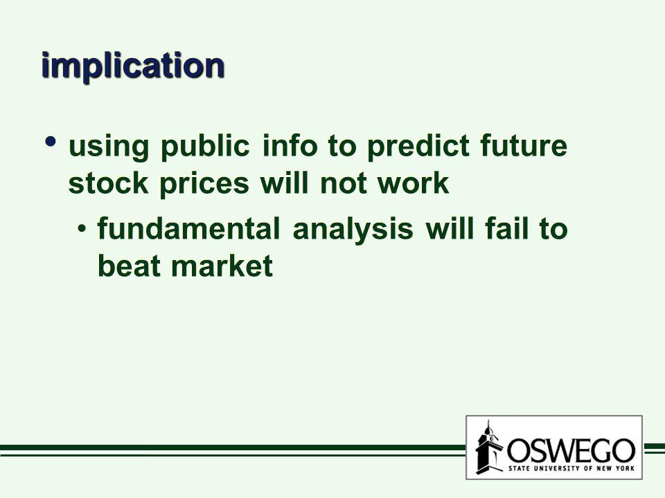implicationimplication using public info to predict future stock prices will not work fundamental analysis will fail to beat market using public info