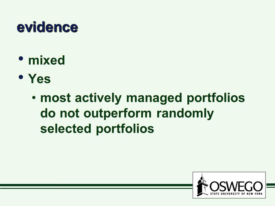 evidenceevidence mixed Yes most actively managed portfolios do not outperform randomly selected portfolios mixed Yes most actively managed portfolios