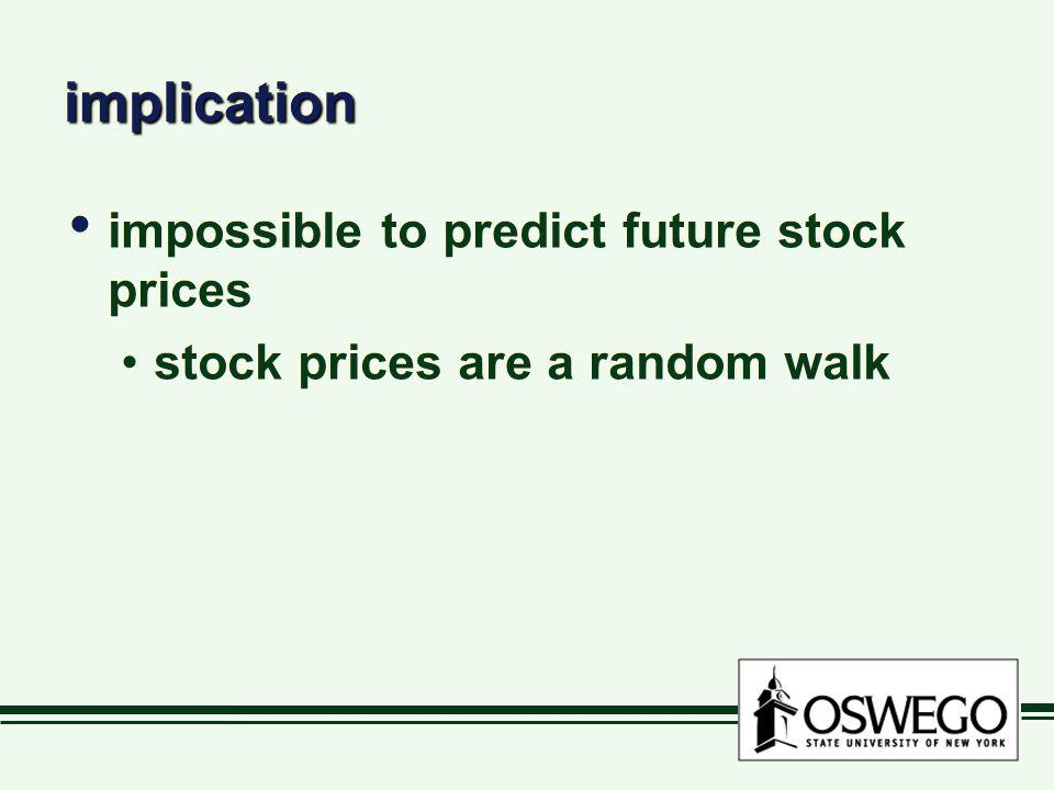implicationimplication impossible to predict future stock prices stock prices are a random walk impossible to predict future stock prices stock prices