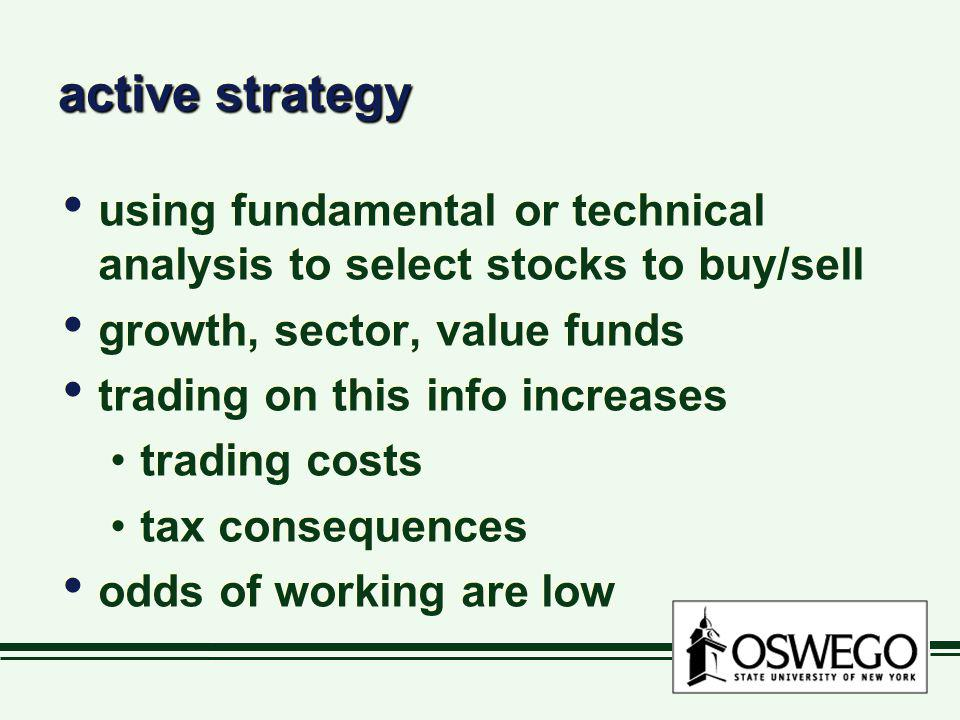 active strategy using fundamental or technical analysis to select stocks to buy/sell growth, sector, value funds trading on this info increases tradin
