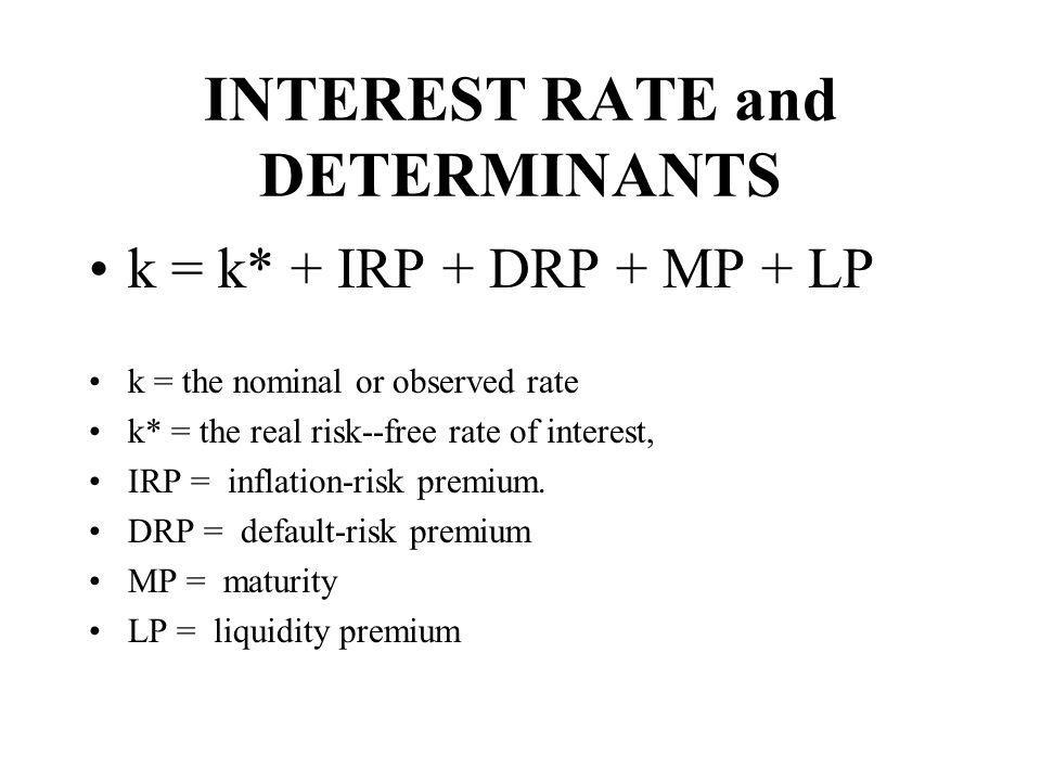 Nominal Interest rate k = k* + IRP + DRP + MP + LP k = .