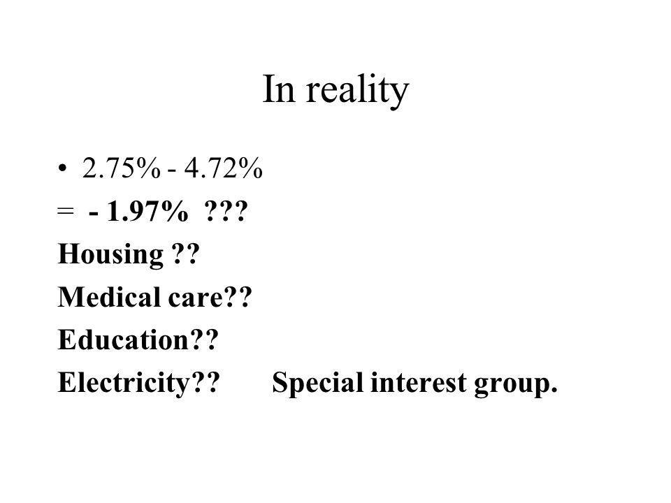 In reality 2.75% - 4.72% = - 1.97% ??. Housing ?.