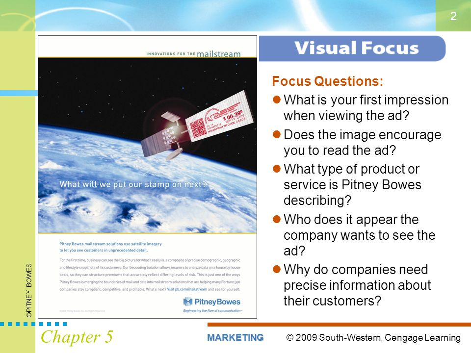 © 2009 South-Western, Cengage LearningMARKETING Chapter 5 2 Focus Questions: What is your first impression when viewing the ad? Does the image encoura