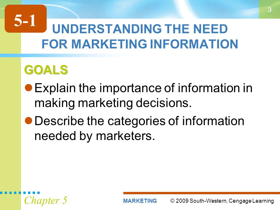© 2009 South-Western, Cengage LearningMARKETING Chapter 5 3 UNDERSTANDING THE NEED FOR MARKETING INFORMATION GOALS Explain the importance of informati