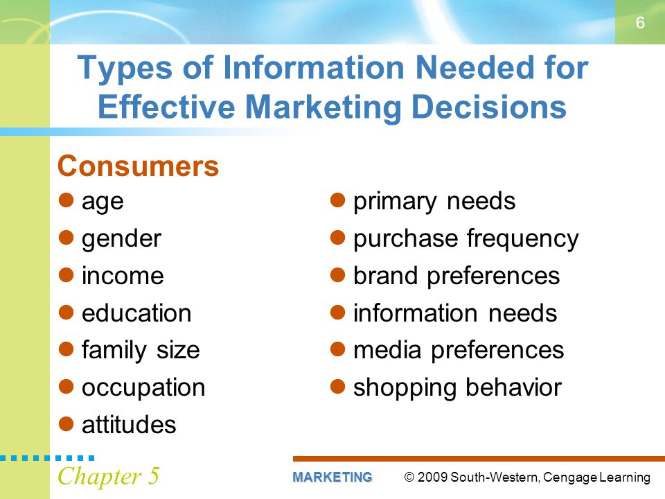 © 2009 South-Western, Cengage LearningMARKETING Chapter 5 6 Types of Information Needed for Effective Marketing Decisions Consumers primary needs purc