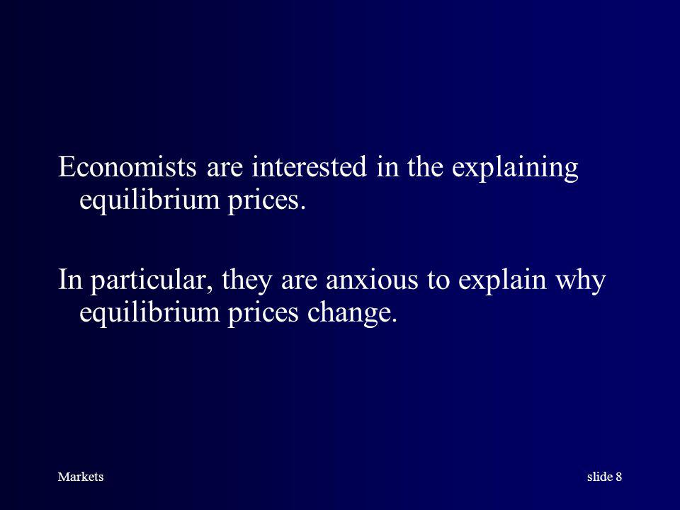Marketsslide 7 When excess demand equals zero, price must be the equilibrium price, and we say the market is in equilibrium.