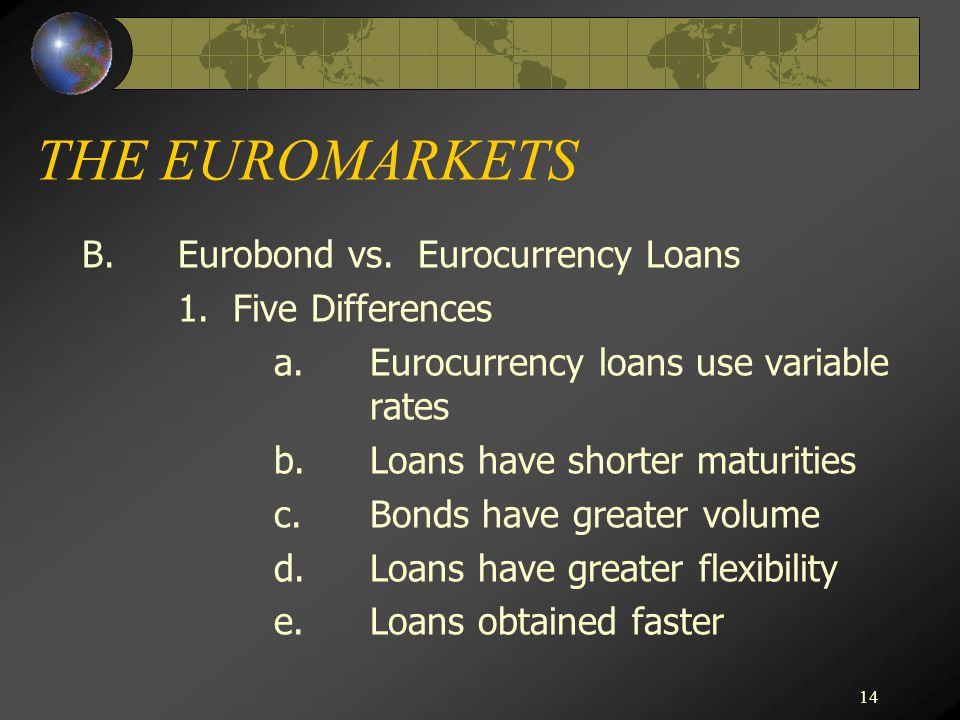 14 THE EUROMARKETS B.Eurobond vs. Eurocurrency Loans 1.