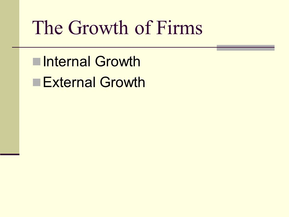 The Growth of Firms Internal Growth External Growth