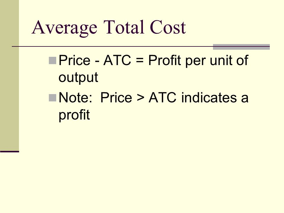 Price - ATC = Profit per unit of output Note: Price > ATC indicates a profit